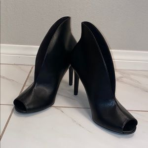 Christian Siriano faux black leather booties